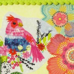 布・刺繡糸・ポンポンテープを使ってハンドメイドポストカード #39