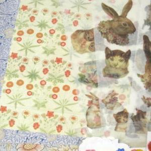 ハンドメイドコラージュポストカード #80-84 猫っぱなにウサギっぱな