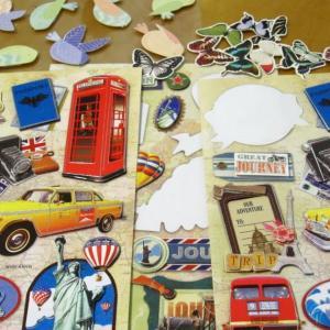 ハンドメイドカード:折り紙背景#89-92 「旅行(2)」「鳥蝶」