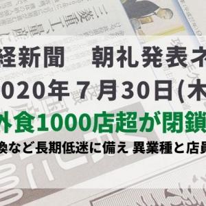 本日の日経新聞 朝礼ネタ 2020/07/30
