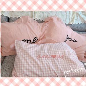 【一目惚れ】ピローケースにメロメロ♡ギンガムチェック&ピンク&ポンポン&フリル・可愛いが満載