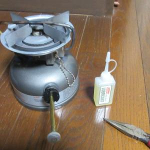 ガソリンシングルストーブのメンテナンスと、イワタニ ジュニアバーナーの遮熱板取り付け。