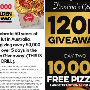 PizzahutとDominosで毎日無料ピザもらえるキャンペーンしています☆