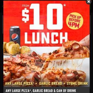 【Dominosピザ】大きいピザ+ガーリックブレッド+ドリンク=$10