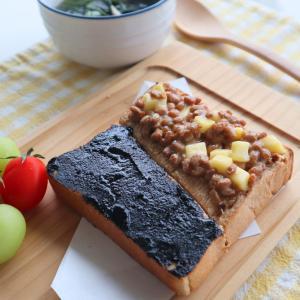 黒糖きなこ食パンと納豆