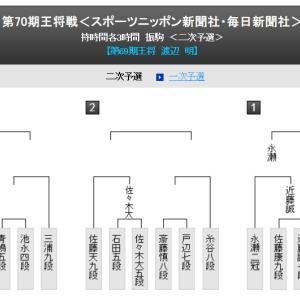 王将戦第2次予選〜永瀬拓矢二冠vs近藤誠也七段