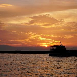 彦根港の夕陽