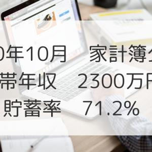 2020年10月家計簿公開!世帯年収2300万円、貯蓄率:71.2%