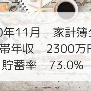 2020年11月家計簿公開!世帯年収2300万円、貯蓄率:73.0%