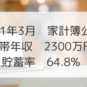 2021年3月家計簿公開!世帯年収2300万円、貯蓄率64.8%