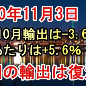 韓国10月輸出は前年比-3.6%、1日あたりは+5.6%【韓国経済の現状最新ニュースと韓国の反応(2020年11月3日)】