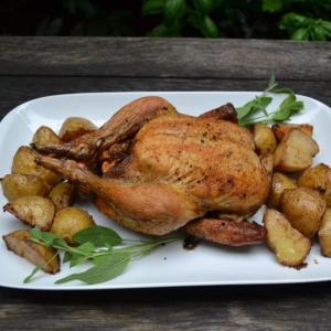 Roast Chicken with Potatoes ローストチキンベークドポテト添え
