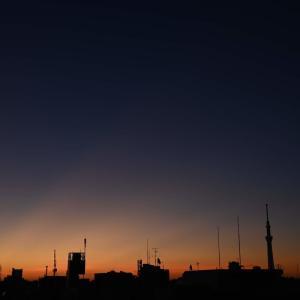🌆朝焼けとスカイツリー 放射状の美しい撮影が出来ました🌞