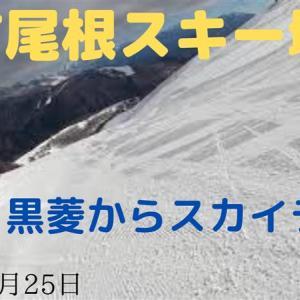 八方尾根スキー場・黒菱からスカイライン滑走(2020年3月25日)
