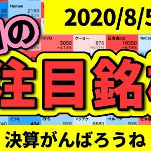 [株おすすめ]【JumpingPoint!!の10分株ニュース】2020年8月5日(水)