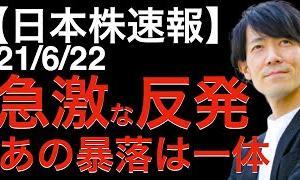 [株おすすめ]【日本株速報】21/6/22 急激な反発!あの暴落は一体何だったのか?とても大事な見るポイントについて解説します!
