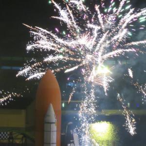 閉園したスペースワールドの花火