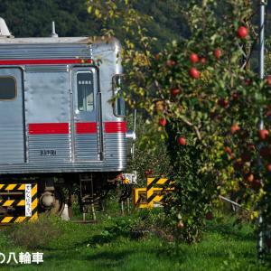 【長野電鉄】3500系N7編成 りんご畑に続く踏切