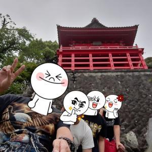 '21.5.29 千葉県山武市「浪切不動尊」崖に建つ朱塗りの本堂!階段を昇り家族4人で写真撮影
