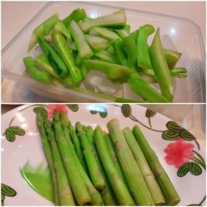 '21.9.7 アスパラガスとカナー!緑鮮やかな野菜はキユーピーと相性抜群!また食べたい朝市野菜