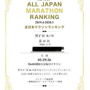 別大で2時間30分切りの結果。2020年全日本マラソンランキング。