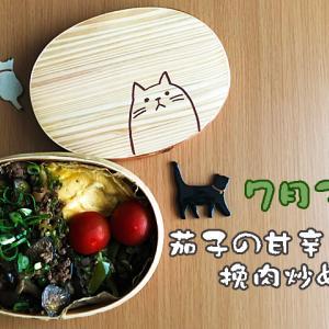 ねこのわっぱ弁当ブログ68(茄子の甘辛挽肉炒め弁当)