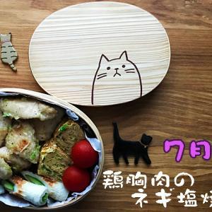 猫のわっぱわっぱ弁当ブログ73(鶏胸肉のネギ塩焼き弁当)