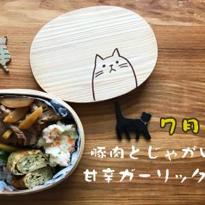 猫のわっぱ弁当ブログ78(豚肉とじゃがいもの甘辛ガーリック炒め弁当)