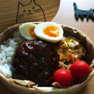 猫のわっぱ弁当ブログ117(ハンバーグ弁当)