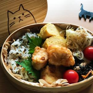 猫のわっぱ弁当ブログ120(唐揚げ弁当)