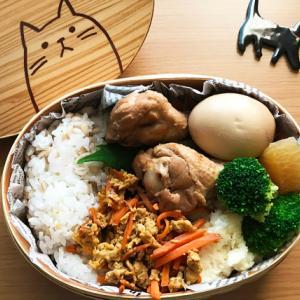 猫のわっぱ弁当ブログ137(手羽元と大根の煮物弁当)