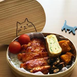 猫のわっぱ弁当ブログ218(ポークチャップ弁当)