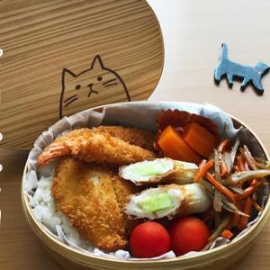 猫のわっぱ弁当ブログ224(ミックスフライ弁当)