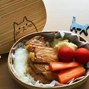 猫のわっぱ弁当ブログ225(ポークステーキ弁当)