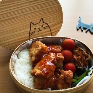 猫のわっぱ弁当ブログ227(鶏の唐揚げ弁当)