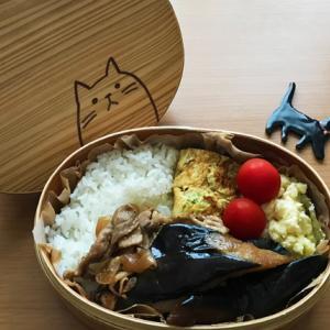 猫のわっぱ弁当ブログ239(豚肉と茄子の甘辛うまみ炒め弁当)
