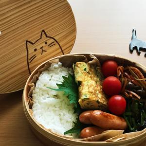 猫のわっぱ弁当ブログ240(ニラ卵焼き弁当)