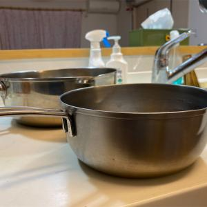 鍋を洗った後のこと。弁当に寒こうじの漬物を入れました。