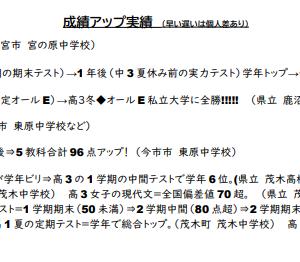 速報◆塾生1号(中3くん)定期テスト結果!