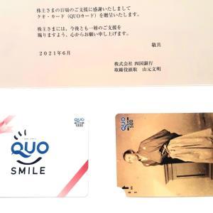 四国銀行から株主優待のクオカードが届きました