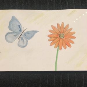 蝶とガーベラ