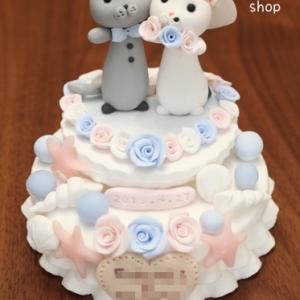 お客様からウェディングケーキのお写真が届きました♪~海モチーフnekono~