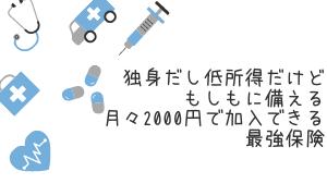 独身だし低所得だけどもしもに備える。掛金月2000円で安心を買おう!