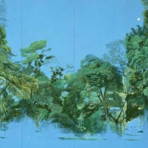 日月山水図屏風 大野廣子 本間美術館個展 1995年