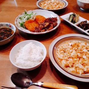簡単麻婆豆腐と残り物いろいろ晩ごはん