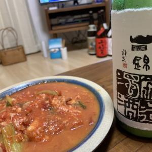 「日置桜 鍛造にごり」×「イカのトマトチーズ煮込み」