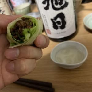 「十旭日 生酛純米」×「甘辛肉そぼろのレタス巻き」