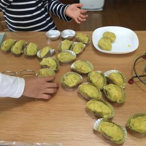 幼稚園で堀ったサツマイモでスイートポテト作り♪