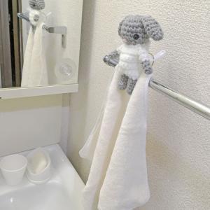 あみぐるみ うさぎのタオルストッパー 小さなタオルも使える