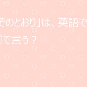 【使える英語表現】日本語の「そのとおり」は英語で何て言う?